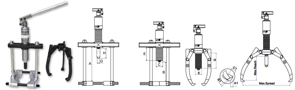 bộ cảo thủy lực đa năng, bảng vẽ kích thước Powerram