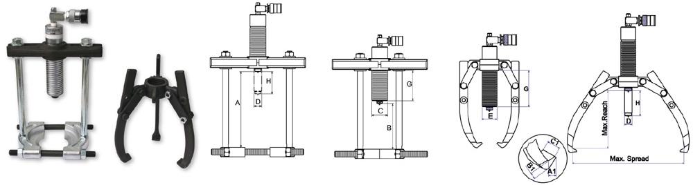 bộ vam thủy lực đa năng tải trọng từ 4 đến 12 tấn Powerram.