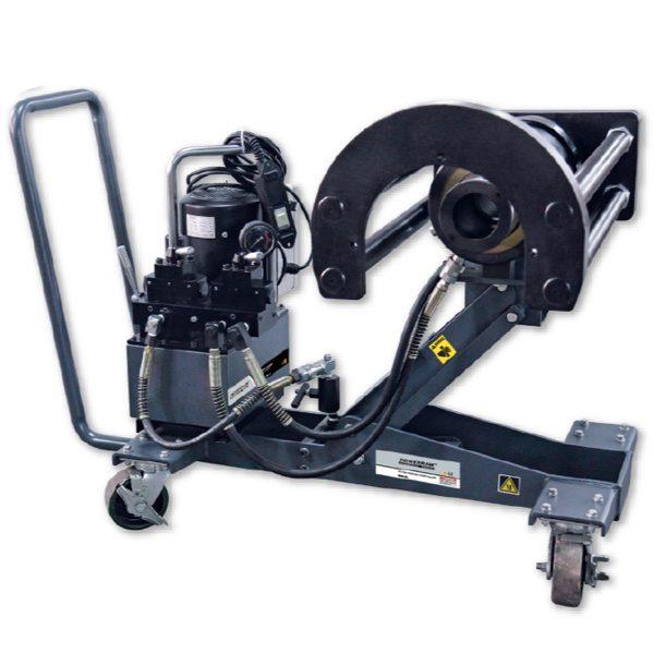 Vam thủy lực tháo lắp vòng bi xe lửa MDTU100TE, tải trọng 100 tấn, đầu ngang. Sử dụng bơm điện tác động kép EP2110D. Cảo di động trên xe đẩy chuyên dụng.